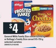 General Mills Family Size Cereal 525-725 G Or Kellogg's Family Size Cereal 515-755 G