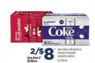 Diet Coke Soft Drinks Or Glaceau Fruitwater - 8 X 310 mL