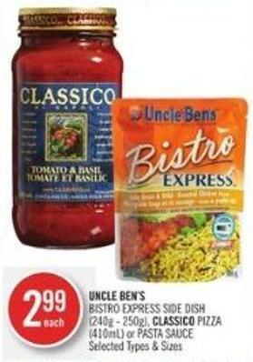 Uncle Ben's Bistro Express Side Dish (240g - 250g) - Classico Pizza (410ml) or Pasta Sauce