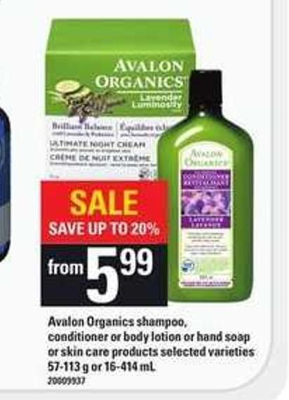 Avalon Organics Shampoo - Conditioner Or Body Lotion Or Hand Soap Or Skin Care Products - 57-113 g or 16-414 mL