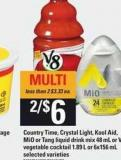 Country Time - Crystal Light - Kool-aid - Mio Or Tang Liquid Drink Mix 48 Ml Or V8 Vegetable Cocktail 1.89 L Or 6x156 Ml