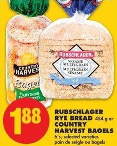 Rubschlager Rye Bread 454 G Or Country Harvest Bagels 6's