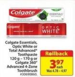Colgate Essentials - Optic White or Total Advanced Toothpaste 120 g - 170 g or Colgate 360 Advance 4-zone Toothbrush