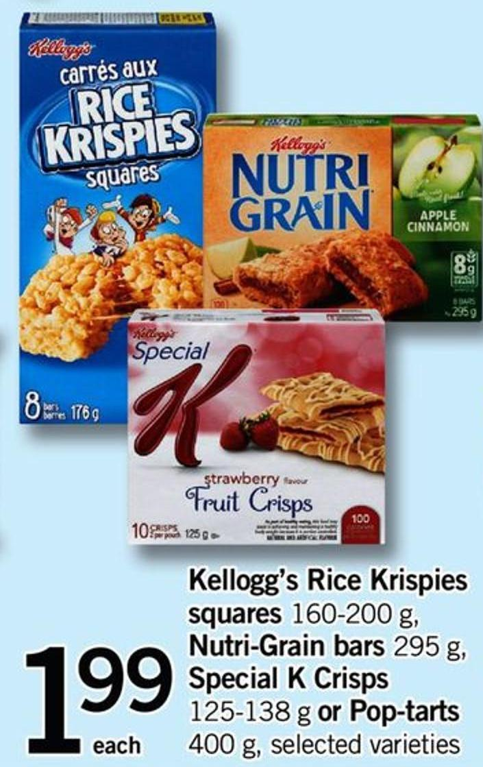 Kellogg's Rice Krispies Squares - 160-200 G - Nutri-grain Bars - 295 G - Special K Crisps - 125-138 G Or Pop-tarts - 400 G