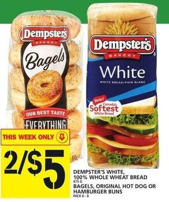 Dempster's White - 100% Whole Wheat Bread Or Bagels - Original Hot Dog Or Hamburger Buns