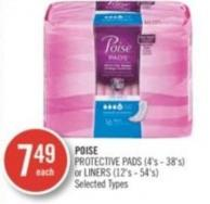 Poise Protective Pads (4's - 38's) or Liners (12's - 54's)