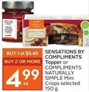 Sensations By Compliments Topper or Compliments Naturally Simple Mini Crisps Selected 150 g