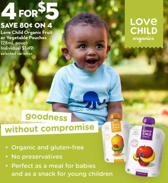 Love Child Organic Fruit or Vegetable Pouches