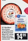 PC Blue Menu Nova Scotian Sea Scallops Jumbo - 20-40 Per Lb - 400 G Or PC Shrimp Platter With Sauce Cooked - 568 G