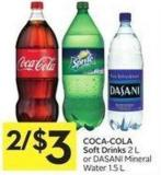 Coca-cola Soft Drinks 2 L or Dasani Mineral Water 1.5 L