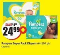 Pampers Super Pack Diapers 64-104 Pk