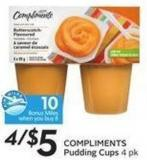 Compliments Pudding Cups 4 Pk - 10 Air Miles Bonus Miles