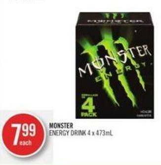 Monster Energy Drink 4 X 473ml