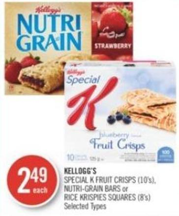Kellogg's Special K Fruit Crisps (10's) - Nutri-grain Bars or Rice Krispies Squares (8's)