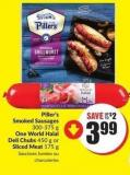 Piller's Smoked Sausages 300-375 g One World Halal Deli Chubs 450 g or Sliced Meat 175 g