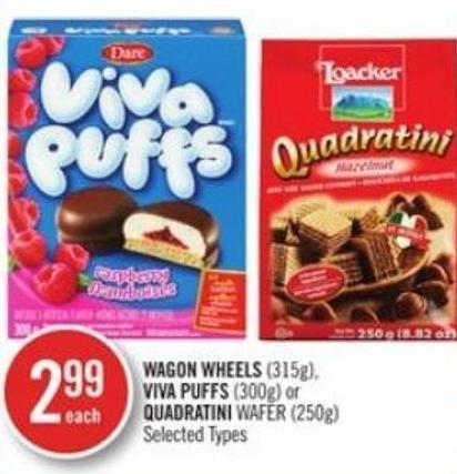 Wagon Wheels (315g) - Viva Puffs (300g) or Quadratini Wafer (250g)