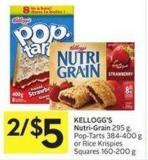 Kellogg's Nutri-grain 295 g - Pop-tarts 384-400 g or Rice Krispies Squares 160-200 g
