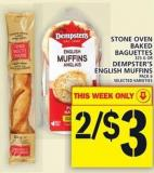Stone Oven Baked Baguettes Dempster's English Muffins