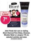 John Frieda Hair Care Or Styling Biore Charcoal Pore Strips - Cleanser - Micellar Water Or Jergens - 775 mL