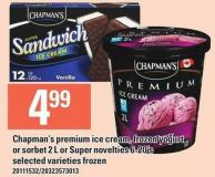 Chapman's Premium Ice Cream Frozen Yogurt Or Sorbet 2 L Or Super Novelties 6-20's