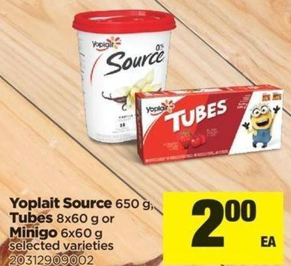 Yoplait Source - 650 g - Tubes - 8x60 g Or Minigo - 6x60 g