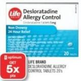 Life Brand Desloratadine Allergy Control Tablets 20's