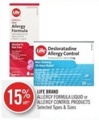 Life Brand Allergy Formula Liquid or Allergy Control Products