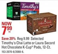 Keurig Selected Timothy's Chai Latte or Laura Secord Hot Chocolate K-cup Pods - 12-ct