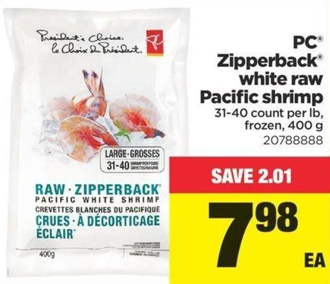 PC Zipperback White Raw Pacific Shrimp - 31-40 Count Per Lb - 400 G