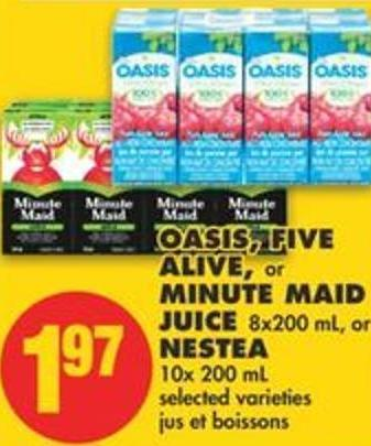 Oasis - Five Alive - or Minute Maid Juice - 8x200 mL - or Nestea - 10x 200 mL