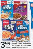 Kellogg's Rice Krispies - Frosted Flakes - Froot Loops - Corn Flakes Or Raisin Bran Cereal - 320-450 g