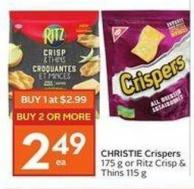 Christie Crispers 175 g or Ritz Crisp & Thins 115 g