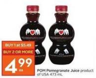 POM Pomegranate Juice Product of USA 473 mL