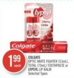 Colgate  Optic White Fighter (53ml) - Total (70ml) Toothpaste or Lypsyl Lip Balm