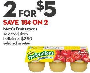 Mott's Fruitsations Selected Sizes