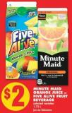 Minute Maid Orange Juice Or Five Alive Fruit Beverage - 1.75 L