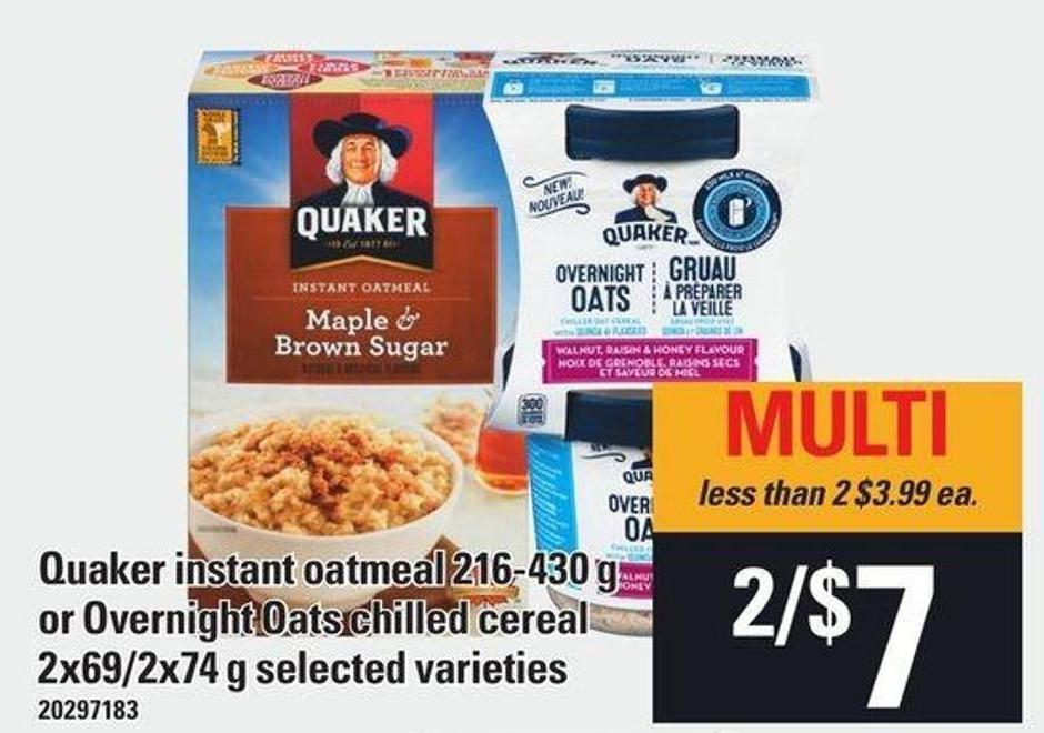 Quaker Instant Oatmeal - 216-430 G Or Overnight Oats Chilled Cereal - 2x69/2x74 G