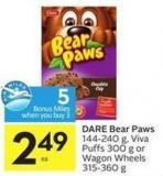Dare Bear Paws 144-240 g - Viva Puffs 300 g or Wagon Wheels 315-360 g - 5 Air Miles Bonus Miles