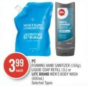 PC Foaming Hand Sanitizer (160g) - Liquid Soap Refill (1l) or Life Brand Men's Body Wash (400ml)