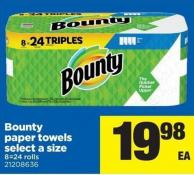 Bounty Paper Towels Select A Size 8=24 Rolls