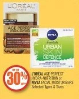 L'oréal Age Perfect Hydra-nutrition or Nivea Facial Moisturizers