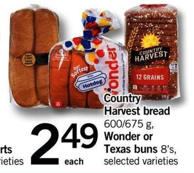 Country Harvest Bread - 600/675 G - Wonder Or Texas Buns - 8's