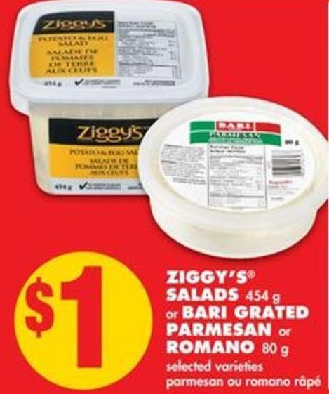 Ziggy's Salads - 454 g or Bari Grated Parmesan or Romano - 80 g