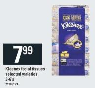 Kleenex Facial Tissues.3/6's