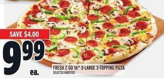 Fresh 2 Go 16in X-large 3-topping Pizza
