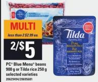 PC Blue Menu Beans 900 G Or Tilda Rice 250 G