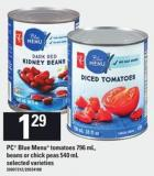 PC Blue Menu Tomatoes - 796 Ml - Beans Or Chick Peas - 540 Ml