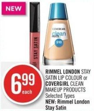 Rimmel London Stay Satin Lip Colour or Covergirl Clean Makeup Products