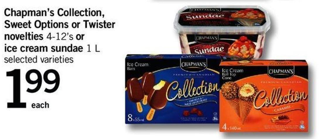 Chapman's Collection - Sweet Options Or Twister Novelties - 4-12's Or Ice Cream Sundae - 1 L