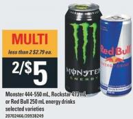 Monster 444-550 Ml - Rockstar 473 Ml Or Red Bull 250 Ml Energy Drinks
